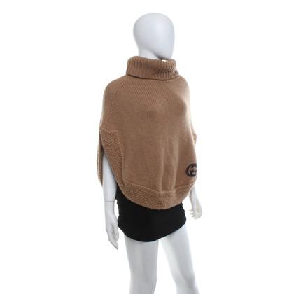 Gucci Poncho lavorato a maglia in ocra
