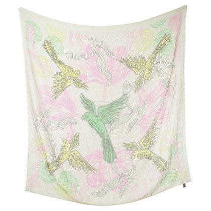 Lala Berlin Silk scarf with parrots-print