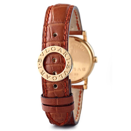 Bulgari Goldene Uhr mit Lederarmband