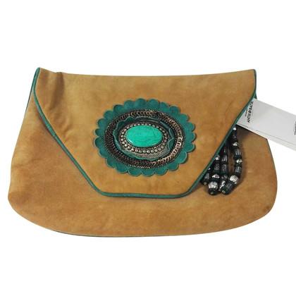 Antik Batik Suede clutch