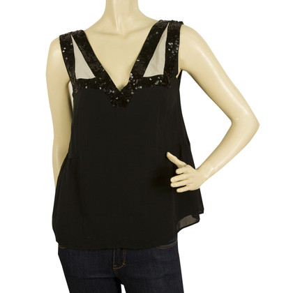 See by Chloé Black Silk Top