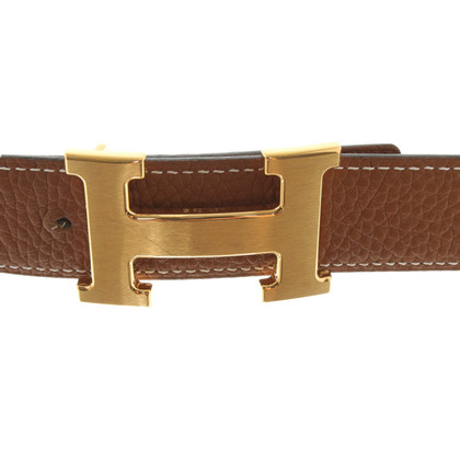 Hermès reversible belt brushed with gold-colored buckle