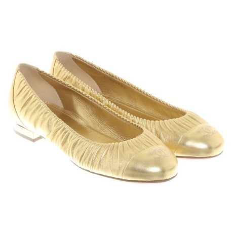 Chanel Goldfarbene Ballerinas Gold Discounter 8zn1b