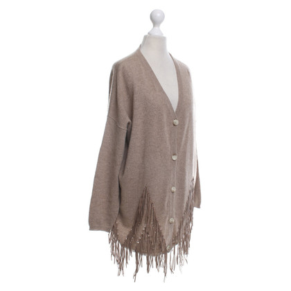 White T Cashmere cardigan with fringes