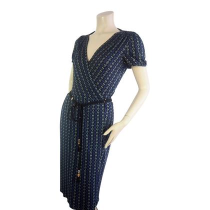 Gucci Blauwe print omslag jurk