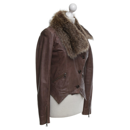 Set Leather jacket with fur collar