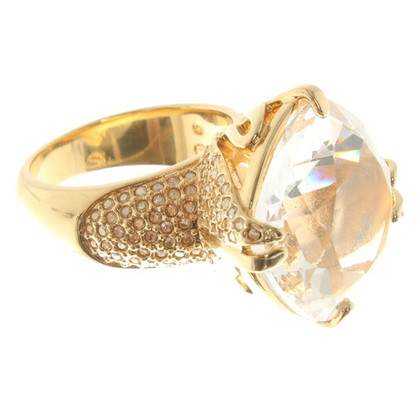 Swarovski Goldfarbener Ring mit Applikation
