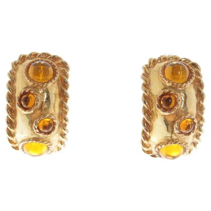 Escada Clip oorbellen met edelstenen