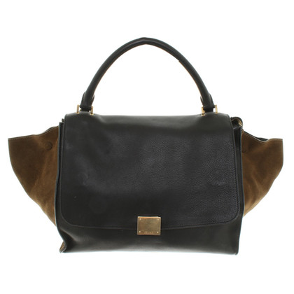 "Céline ""Trapeze Bag Medium"" in Schwarz/Oliv"
