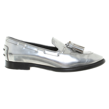 Tod's Silver-colored loafers