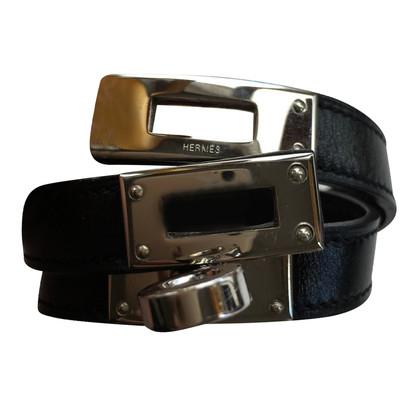 Hermès Kelly Armband, schwarz, silber