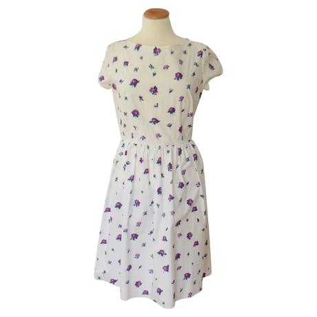 Prada Kleid mit Blumen Print Wei