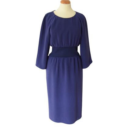 Jil Sander Blauwe jurk met gebreid juk