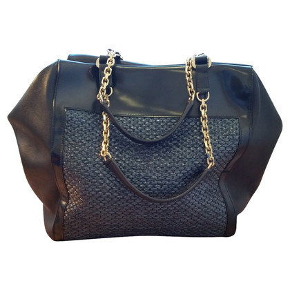 Versace BAG IN BLACK LEATHER AND BAST