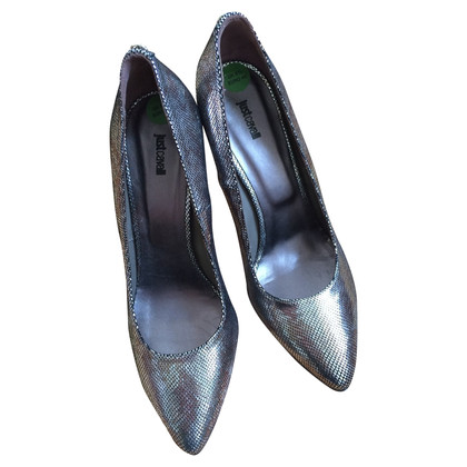 Just Cavalli Pumps im Metallic-Reptil-Look