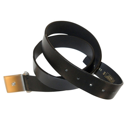 Gianni Versace Medusa Belt in zwart leer