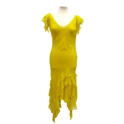 Christian Dior zijden jurk met zakdoek zoom en ruches