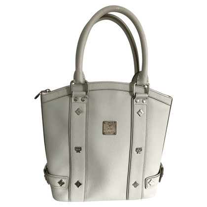 MCM white leather handbag