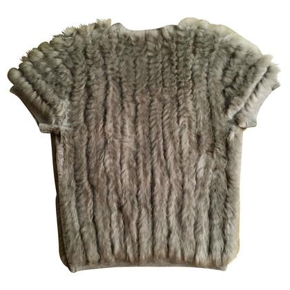 Schumacher Knit vest with rabbit fur