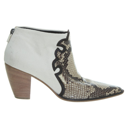 Walter Steiger Ankle boots made of linen and reptile leather