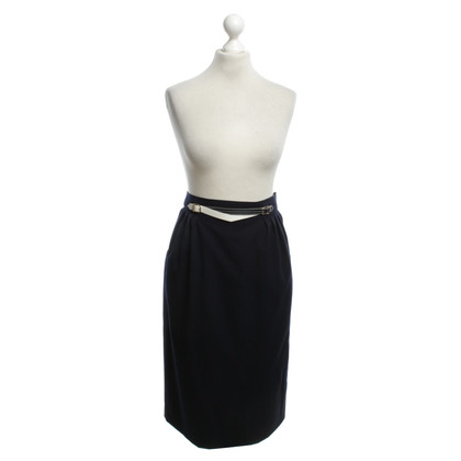 Hermès Wool skirt, navy, jewelry belt Gr. 46
