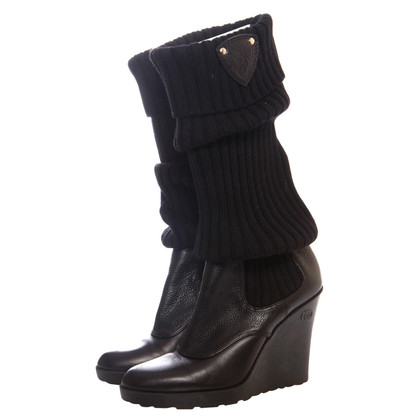 Gucci leather GG wedge knit leg boot