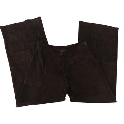 Fendi pantaloni in pelle scamosciata