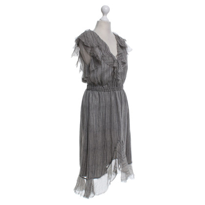 L'Agence Silk dress in grey / white