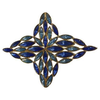 Yves Saint Laurent Broche avec des pierres bleues