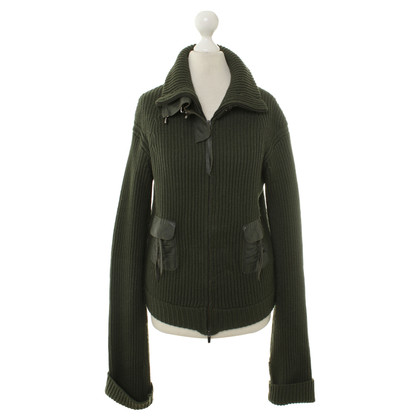 Patrizia Pepe Short cardigan sweater with leather details