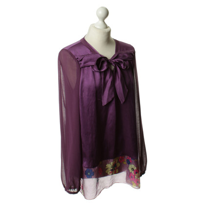René Lezard Zijden blouse in paars