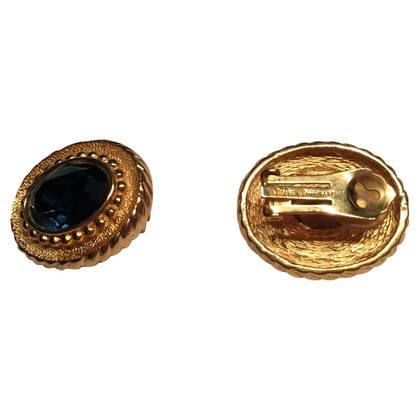 Christian Dior Ear clips with blue stone