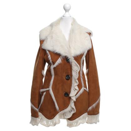Autres marques Veste en cuir Roberta Scarpa- avec de la fourrure