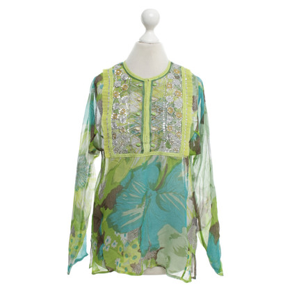Antik Batik Silk tunic in green / yellow