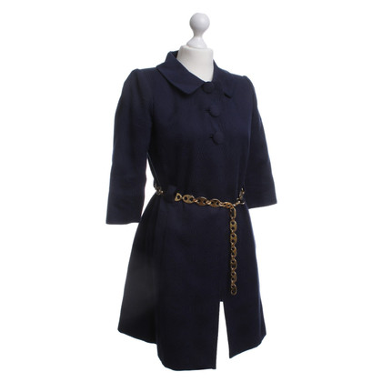 Milly Coat in dark blue with an interface