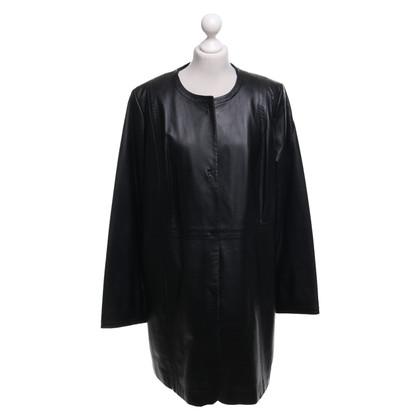 Marina Rinaldi Leather coat in black