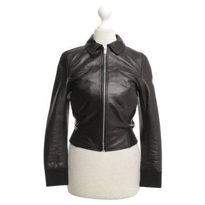 R 13 Leather jacket in black