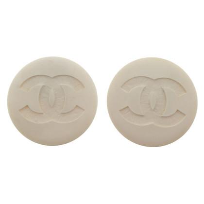 Chanel Große Ohrclips in Weiß
