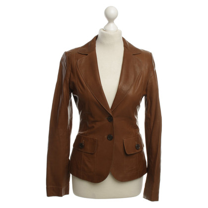 Hugo Boss Leather blazer in Tan