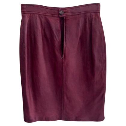Loewe Falda de piel Burdeos