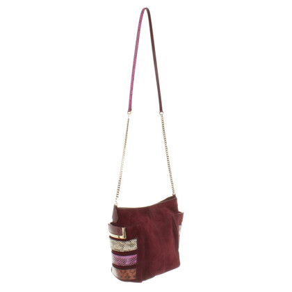 Jimmy Choo Wildleder-Handtasche in Bordeaux
