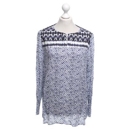 René Lezard Blouse shirt in white / violet