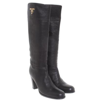 Prada Boots of black deerskin