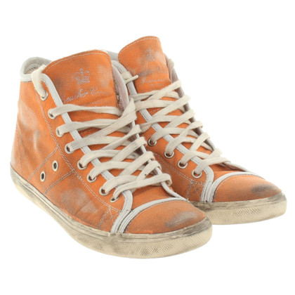 Leather Crown Sneakers in Orange