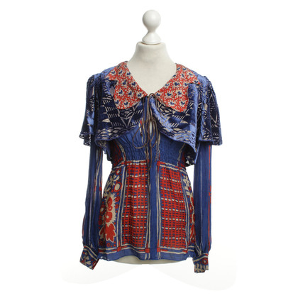 Anna Sui Blouse in blue / red / beige
