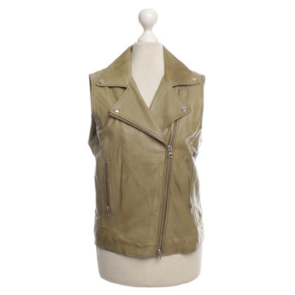 Paul & Joe Leather vest in olive green