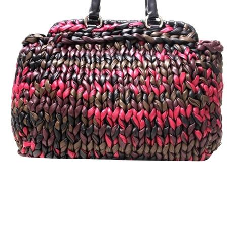 Outlet Rabatt Authentisch Prada Shopper mit Geflecht Andere Farbe Verkauf Freies Verschiffen Preise Für Verkauf Billige Fälschung BmY1cv0ym