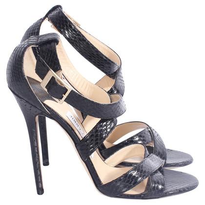 Jimmy Choo black python sandals