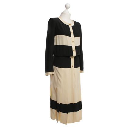Chanel Seidenkleid in Beige/Schwarz