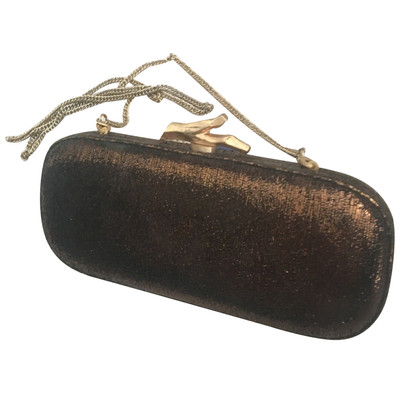 Diane von Furstenberg Bronze Metallic Leather Clutch